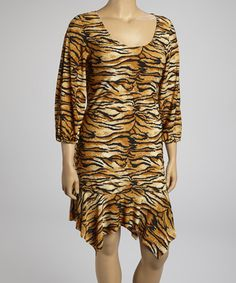 Take a look at this Tan Tiger Ruffle Shift Dress - Plus by Poliana Plus on #zulily today!
