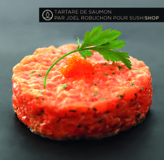TARTARE DE SAUMON NEW STYLE (saumon finement haché, câpres, persil, oignon…