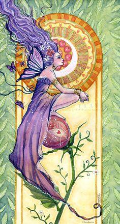 Fairy Art Print - Violet Purple Fairy Art Nouveau - Roses Leaves Hearts and a Moon Crest