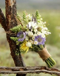 bouquet against a scenic backdrop