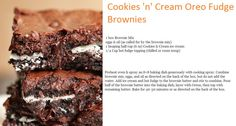 #cookies_n_cream #oreo fudge #brownie #recipe, #sglrpick