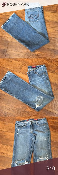 Express Jeans Stella boot leg Stella bootleg 12 Long five pocket jeans with obvious distressing Express Jeans Boot Cut