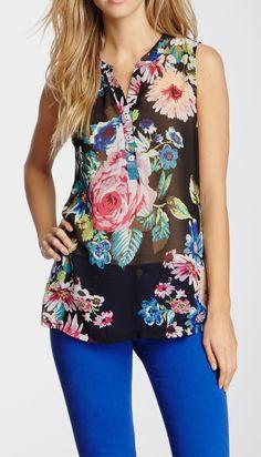 Contrast Print Tank #TrendSpotting #Floral