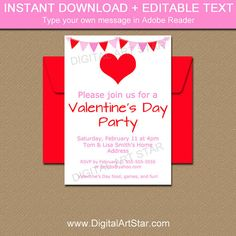 Valentine Invitation Template  Editable Valentines Day Invitation