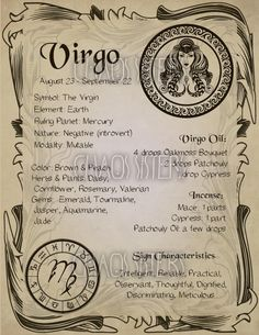 Virgo Zodiac Sign Book of Shadow Printable PDF page Wicca Astrology Horoscope Correspondence Grimoire Page Magic Journal Witch Book Virgo Sign, Zodiac Signs Virgo, Virgo Horoscope, Zodiac Star Signs, Zodiac Art, Astrology Zodiac, Astrology Signs, Astrology Numerology, Numerology Chart