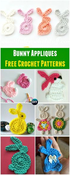 Collection of Crochet Bunny Applique Free Patterns: Easy and Quick Easter Bunny / Rabbit Applique and Motifs crochet pattern most free for Easter crochet decoration via @diyhowto