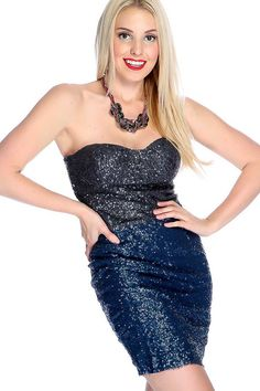 #FashionVault #diamond clubwear #Women #Dresses - Check this : Sexy Navy Charcoal Strapless Sequin Overlay Bodycon Party Dress for $24.99 USD instead of $7.99 #OnSale