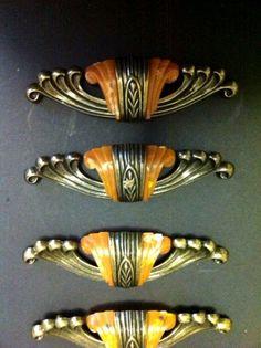 Vintage Brass Art Deco Bakelite Drawer Pull Or Handles Set