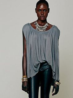 """For those with a """"boy build"""".  Wear with a skinny bottom.  Free People B Town Tee"""