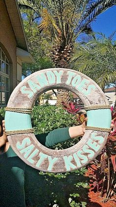 All Seas Imports 11 x 11 HANDCARVED /& Painted Wood Distressed Look SEA Foam Green Sandy Toes Salty Kisses Beach Decor Life Ring Sign!