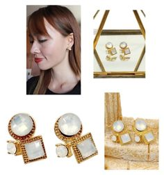 """Fashion golden rim white crystal ball earrings"" by oceanfashion on Polyvore"