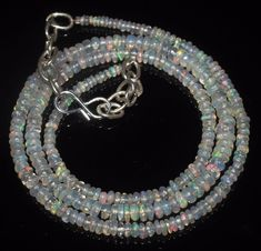 """31 CTW 2-4 MM 17""""NATURAL GENUINE ETHIOPIAN WELO FIRE OPAL BEADS NECKLACE-R7061"""