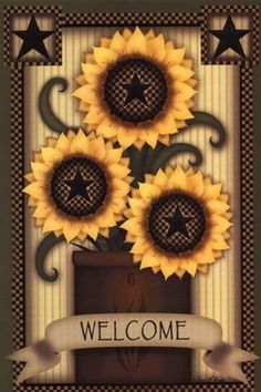 Welcome Sunflowers Poster Print by Carrie Knoff (12 x 18)
