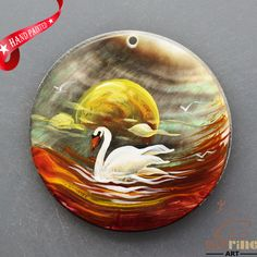 HAND PAINTED SWAN NATURAL MOP MOTHER OF PEARL SHELL  NECKLACE PENDANT ZL3005857 #ZL #PENDANT
