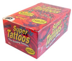 Super Tattoos, now available to purchase online at The Professors Online Lolly Shop as Sku: 2346 - While you are there, check out our other Confectionery too!