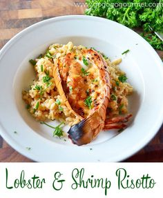 Creamy Risotto, studded with lobster, shrimp and chives.