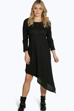 Plus Amber Long Sleeved Ribbed Asymetric Dress