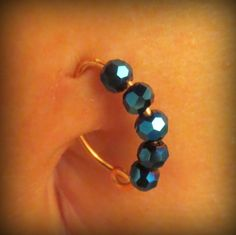 14K Gold Sapphire Iris Belly Button Ring by ZenGem on Etsy, $35.00 FREE SHIPPING!