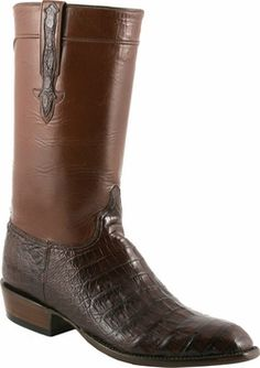 Mens Lucchese Classics Sienna Ultra Belly Crocodile with Regal Cord Custom Hand-Made Leather Boots L9477