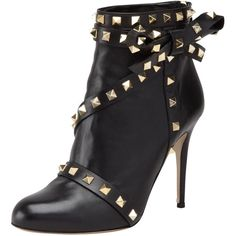 Valentino Studded Leather Ankle Boot ❤ liked on Polyvore
