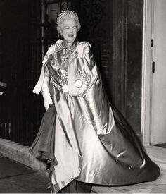 Clementine, Lady Churchill, GBE leaving 10 Downing Street dressed for the coronation of Queen Elizabeth II wearing the Essex Tiara, 1953