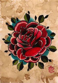 Tattoo rose flash. Traditional