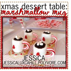 xmas dessert table: marshmallow mug by theseasonedtips on Polyvore featuring interior, interiors, interior design, home, home decor, interior decorating and jessicastips