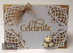 Card using Crafter's Companion Classique Corners – Lattice Corner. Designed by Marie Jones Anniversary Crafts, Wedding Anniversary Cards, Wedding Cards, Cards Made With Unbranded Dies, Crafters Companion Cards, Anna Griffin Cards, Embossed Cards, Flower Cards, Making Ideas
