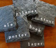 Beer Slate Coasters, via Etsy