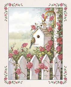 Stampabili per decoupage - 'The Rose Birdhouse' Vintage Cards, Vintage Paper, Decoupage Vintage, Vintage Pictures, Vintage Images, Paper Art, Paper Crafts, Tole Painting, Bird Art