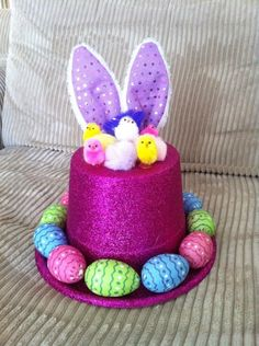 My Easter Hat effort for Sophie's parade last year :) Easter Bonnets For Boys, Easter Bunny, Easter Eggs, Crazy Hat Day, Crazy Hats, Easter Hat Parade, Easter 2018, Spring Hats, Bunny Hat