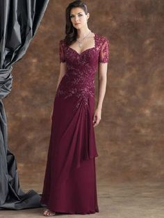 burgundy mother of the bride dress
