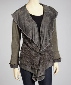 Take a look at this Ecru Linen-Blend Sidetail Jacket by Pretty Angel on #zulily today!
