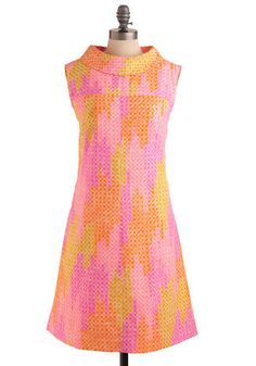 Vintage All Bright Now. This swinging frock is pleasantly colored with highlights of pink, purple, orange, and yellow with a white, circular pattern. Indie Outfits, Girly Outfits, Classy Outfits, Unique Dresses, Vintage Dresses, Vintage Outfits, Vintage Wear, Vintage Clothing, Mod Fashion