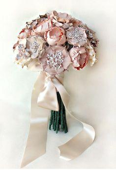 dusty pink brooch bouquet via banffandcanmoreweddingplanner_com Fabric Bouquet, Broach Bouquet, Silk Bridal Bouquet, Wedding Brooch Bouquets, Hand Bouquet, Blush Bouquet, Diy Bouquet, Paper Bouquet, Bridemaid Bouquet
