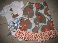Amy Butler Lotus Baby Shower Gift Ruffle Pants by SweetSnugglebugs, $45.00