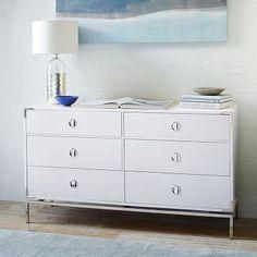 Malone Campaign 6-Drawer Dresser - White Lacquer