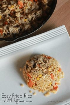 This easy fried rice recipe with leftover rice with help you save money on groceries by cutting down on waste and using up the food you already have on hand. This recipe is gluten free and dairy free.