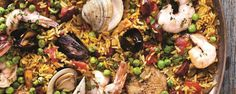 Michael Symon's Paella Recipe by Michael Symon - The Chew The Chew Recipes, Great Recipes, Cooking Recipes, Favorite Recipes, Game Recipes, What's Cooking, Seafood Dishes, Fish And Seafood, Seafood Recipes