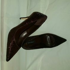 Burgundy sequenced pumps white house black market Worn once for Christmas.  Your own pair of ruby slippers. Perfect condition.  Light wear on bottom. 3.5 inch comfortable heel height. White House Black Market Shoes Heels
