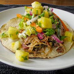Shredded Chicken Tacos with Pineapple Salsa