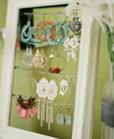 Cute jewlery organizer old picture from with wire running across th back