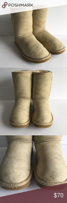 Ugg Classic Short Size 7 Boots Sheep This listing is for a pair of women's Classic short Uggs in a size 7. They are light in color. There is a small amount of wear in the boots where your heel goes as shown in photos. UGG Shoes Ankle Boots & Booties