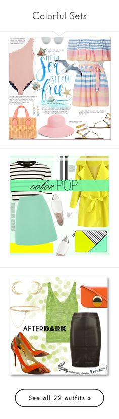 """""""Colorful Sets"""" by looking-for-a-place-to-happen ❤ liked on Polyvore featuring Mark Cross, Mara Hoffman, Topshop, Marysia Swim, Eric Javits, Saks Fifth Avenue, Valentino, Casetify, Theory and McQ by Alexander McQueen"""