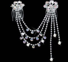 Bridal Headpiece Haircomb Chatelaine Swag of Rhinestones.