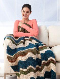 Spa Garden Ripple Afghan (Crochet) - Patterns - Lion Brand Yarn