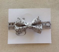 Handmade Velcro Boys Bow Tie in Gray Damask // by GraceCoHandmade, $15.00
