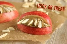 Apples, almond butter, & sliced almonds. Fun Paleo Halloween treat