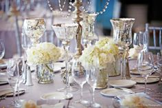 I was OBSESSED w/ mercury glass for our wedding décor!