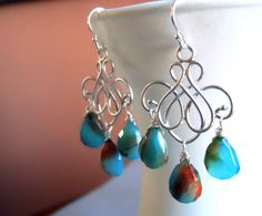 Blue and Brown Opal Chalcedony chandelier earrings by Sueanne Shirzay, $74.00